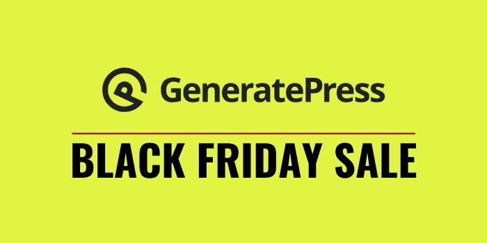 generatepress black friday cyber monday 2020 sale
