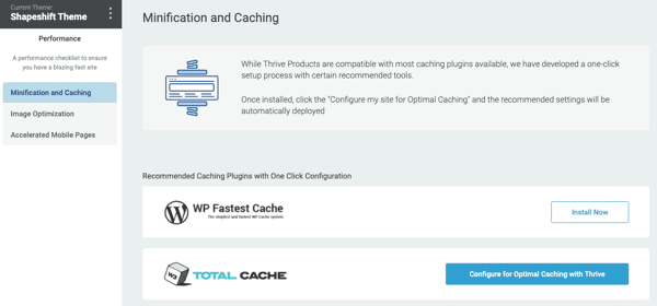 minification caching Thrive Theme Builder Review