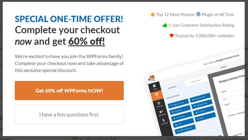 wpforms special discount
