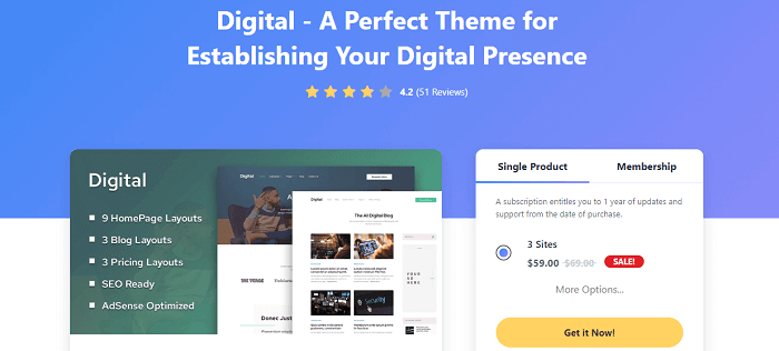 digital wordpress theme review