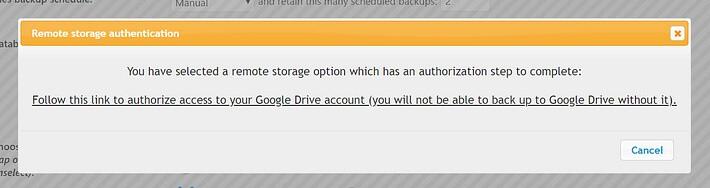 Google Drive Authentication settings