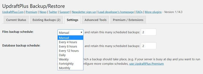 Scheduled Backups updraftplus settings
