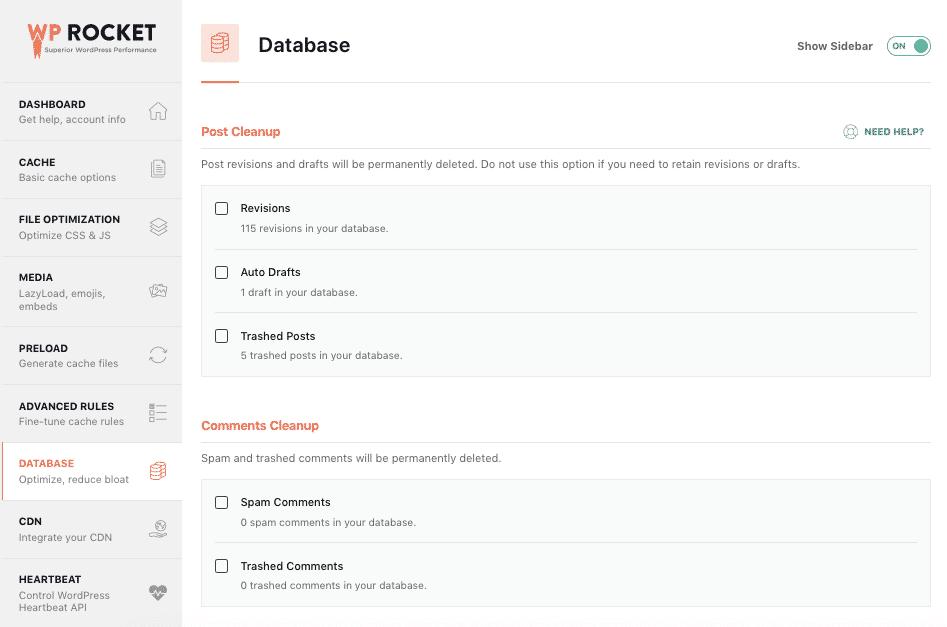 WP Rocket Database Optimisation