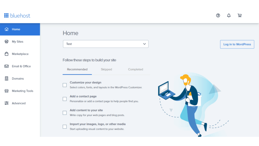 bluehost account homepage