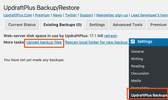 restore uploadbackup