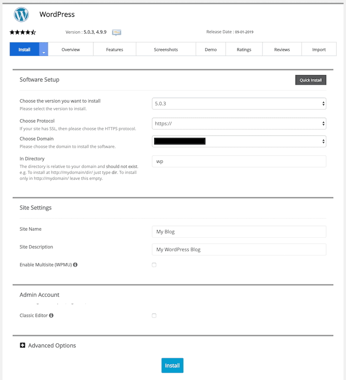 softaculous wordpress form
