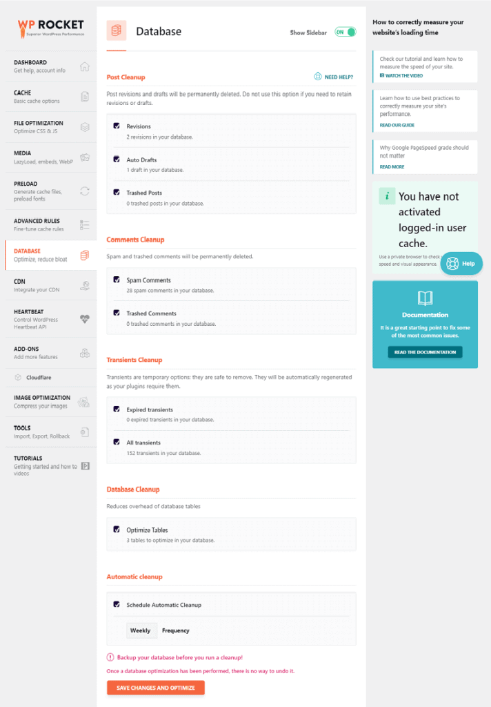 wp rocket database settings