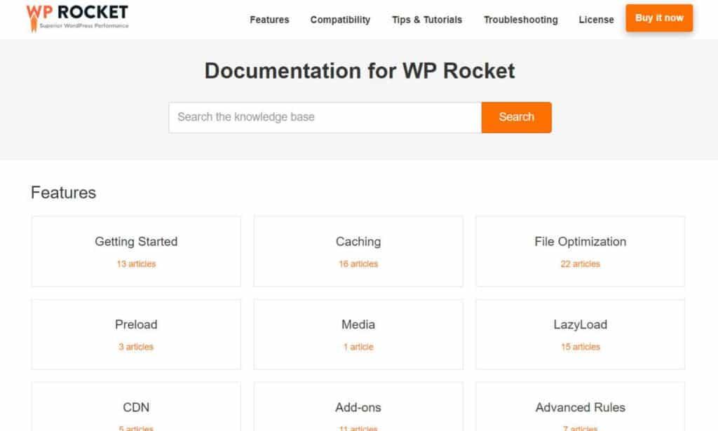 wp-rocket knowledge base